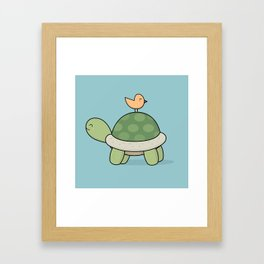 Kawaii Cute Tortoise And Bird Framed Art Print