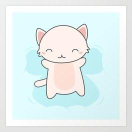 Kawaii Cute Snow Angel Cat Art Print