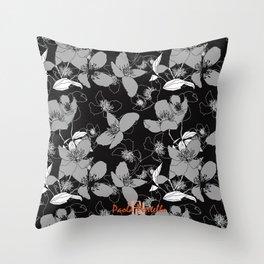 Monochrome wild rose 66 Throw Pillow