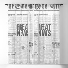 The Good Times Vol. 1, No. 1 / Newspaper with only good news Sheer Curtain