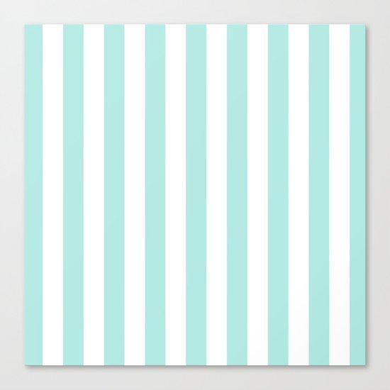 Aqua Stripes vertical- Beautiful maritime pattern Canvas Print