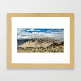 Chang La pass on the way to Pangong Tso Lake, Ladakh, India Framed Art Print