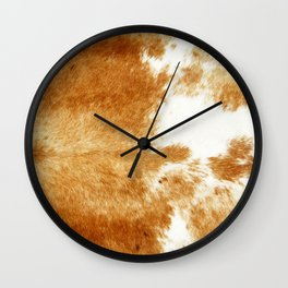 Golden Brown Cow Hide Wall Clock
