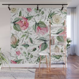 Aurora pink forest green gray watercolor floral Wall Mural