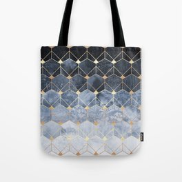 Blue Hexagons And Diamonds Tote Bag