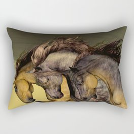 HORSES-Gunmetal Rectangular Pillow