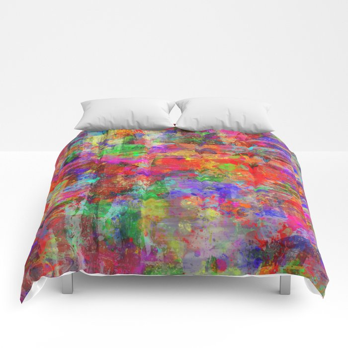 Vibrant Chaos - Mixed Colour Abstract Comforters
