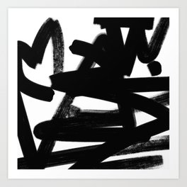 Thinking Out Loud - Black and white abstract painting, raw brush strokes Art Print