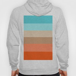 Modern orange aqua sand color block stripes Hoody