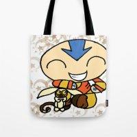 aang Tote Bags featuring PowerPuff Aang by auroranq