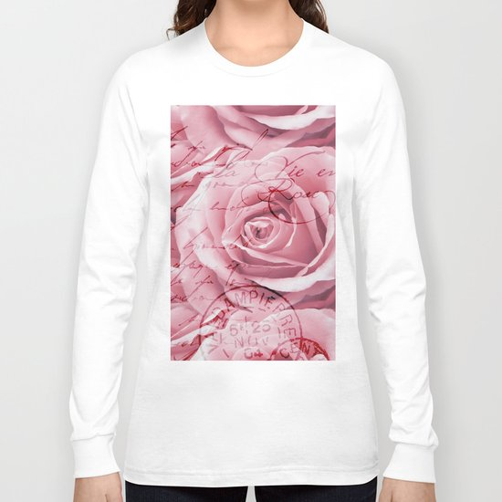 Nostalgic Rose with old handwriting Long Sleeve T-shirt