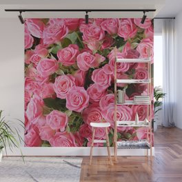 Pink Rose Floral Pattern Wall Mural