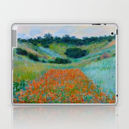 Claude Monet Impressionist Landscape Oil Painting Poppy Field in a Hollow near Giverny Laptop & iPad Skin