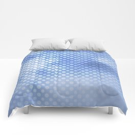 White polka dots on serentiy blue with bokeh texture Comforters