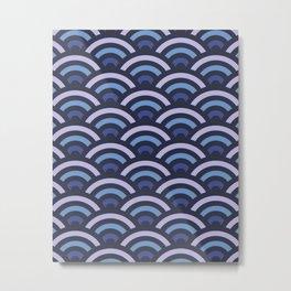 Blue Gradient Seigaiha Metal Print
