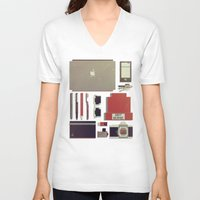 8bit V-neck T-shirts featuring 8Bit Handbag by Thecansone