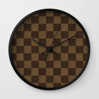 lv Wall Clocks featuring LV pattern style by aleha