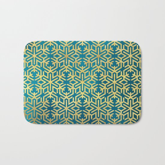 Turquoise and Gold Snowflake Pattern Bath Mat