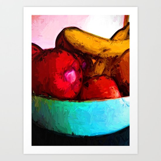 Yellow Bananas and Red Apples Art Print