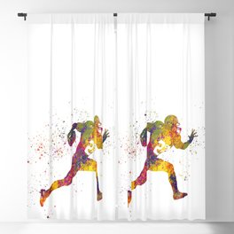 American football player in watercolor 14 Blackout Curtain