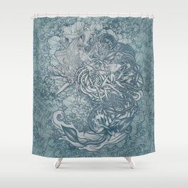 Fifth Mix Blue Shower Curtain