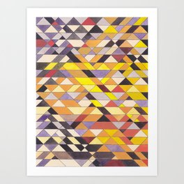Triangle Pattern No.8 Black and Yellow Art Print