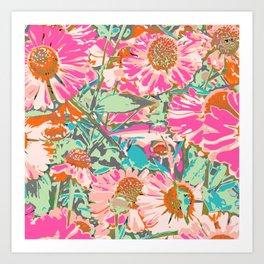 Pink Sunflowers #pattern #painting Art Print