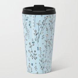 Blue, White, Black and Gray Floral Pattern Travel Mug