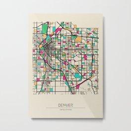 Colorful City Maps: Denver, Colorado Metal Print
