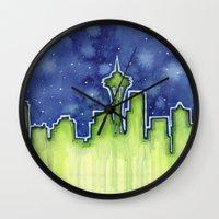 seattle Wall Clocks featuring Seattle  by Olechka