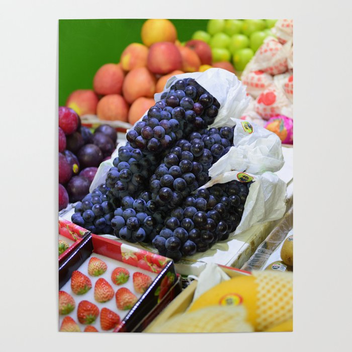 Market Display of Fruit - Kitchen or Cafe Decor Poster by eclectickitchen