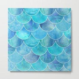 Turquoise Blue Watercolor Mermaid Metal Print
