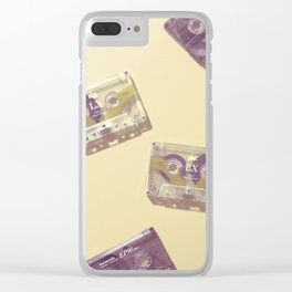 Cassettes in yellow Clear iPhone Case