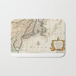 New England Ancient Map (1747) Bath Mat
