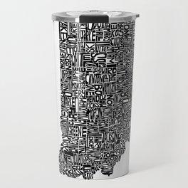 Typographic Indiana Travel Mug