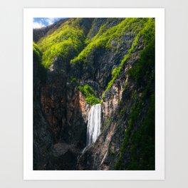 Majestic waterfall Boka in spring glory Art Print