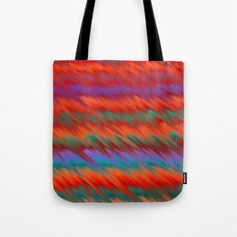 Abstract forest green living coral purple brushstrokes ikat Tote Bag