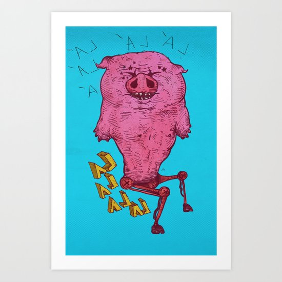 the dancing and disabled pig Art Print
