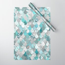 Mermaid Aqua and Grey Wrapping Paper