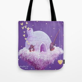 Penguins Fishing and Making Music On Their Floating Igloo Home in the Stars Tote Bag