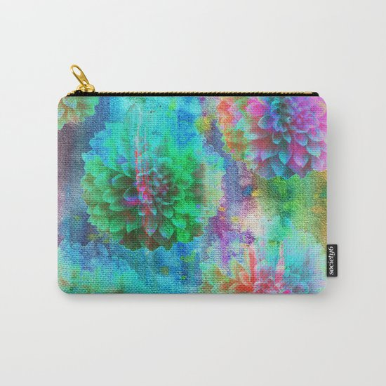 Colorful Dahlias Q Carry-All Pouch