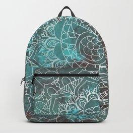 Rusty Cyan Red Mandala Design Backpack