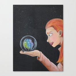 Galaxy in a crystal ball Canvas Print