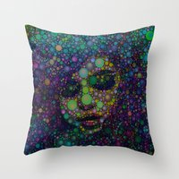 selena gomez Throw Pillows featuring Beautiful Selena  by Amy Anderson