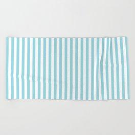 Pale Sky Blue & White Vertical Stripe Beach Towel