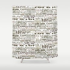 Espresso Shower Curtains Society - Shower curtain with words