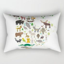 Map of North America with Animals bison bat manatee fox elk horse wolf partridge seal Polar bear Rectangular Pillow