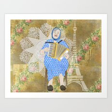 Woman Playing the Accordion Art Print