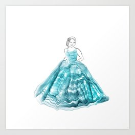 Girl In Teal Alcohol Ink Ball Gown Art Print
