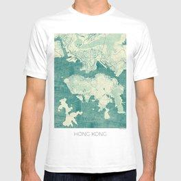 Hong Kong Map Blue Vintage T-shirt